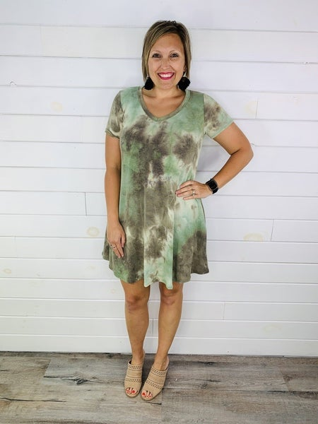 Plus/Reg Olive Tie Dye French Terry Swing Dress with Pockets