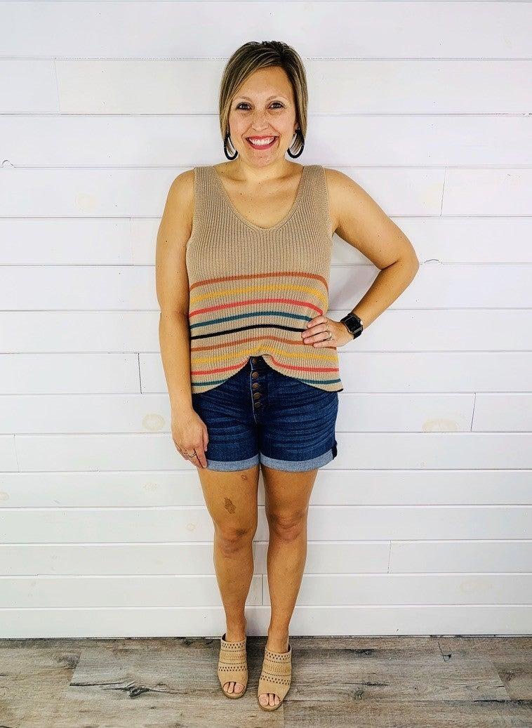 PLUS/REG Judy Blue Reset Button Dark Wash Nondistressed Shorts