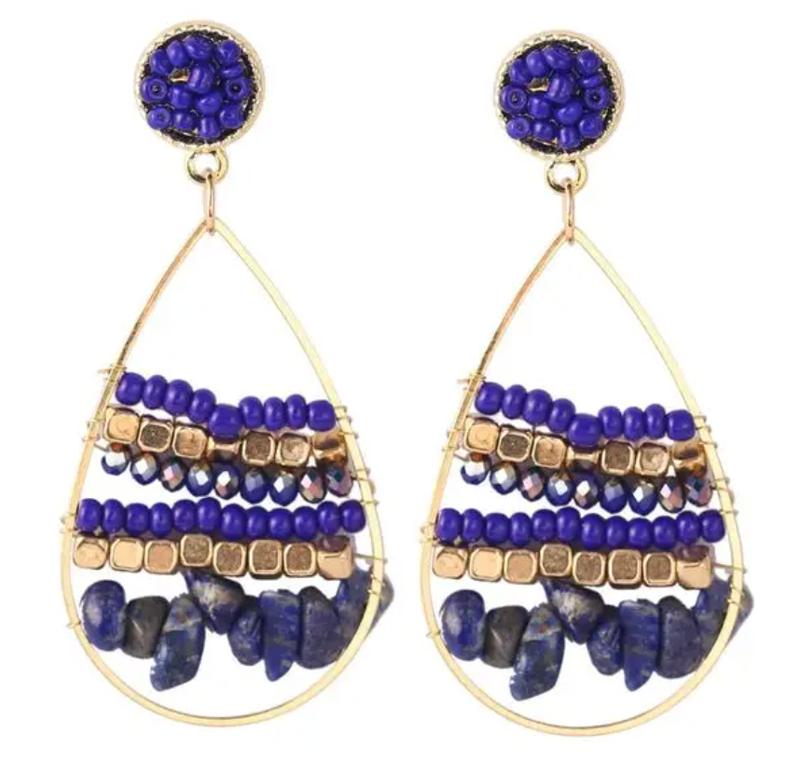 Blue Beaded Gold Hoop Earrings