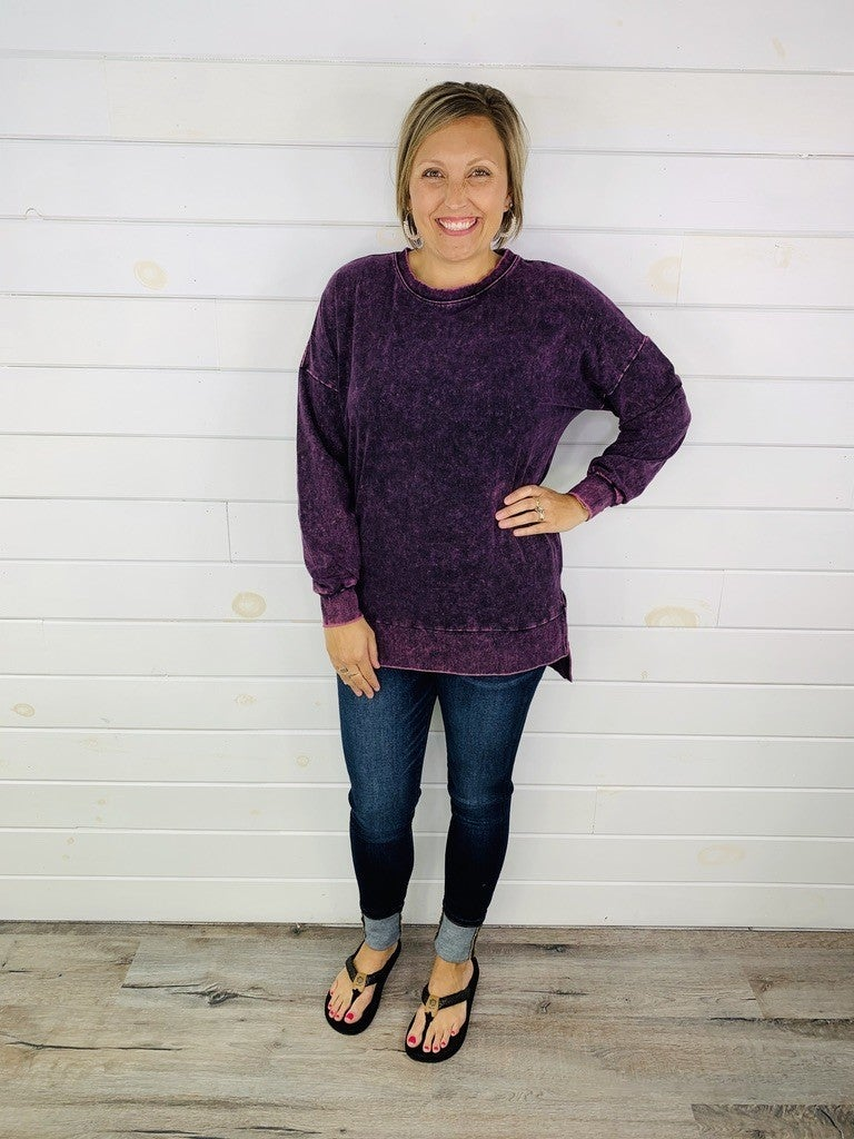 DOORBUSTER MIneral Washed Crewneck Pullover- 6 Colors!