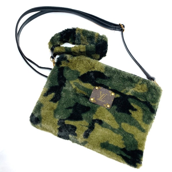 Authentic Upcycled LV Small Camo Handbag With Cuff