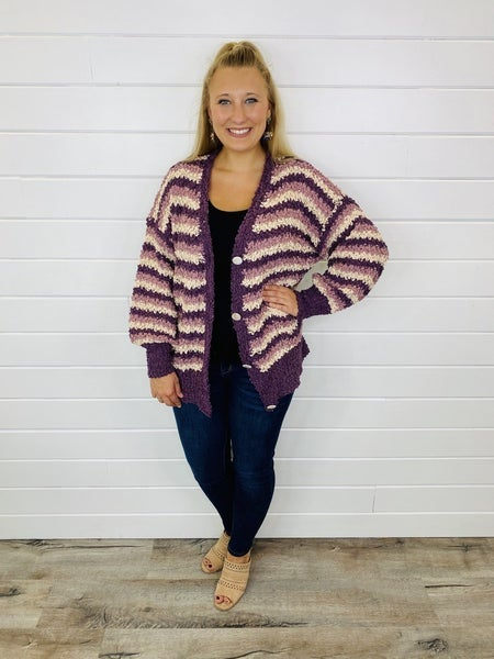 Ombré Striped Popcorn Sweater with Buttons
