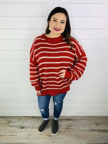 Red and White Striped Balloon Sleeve Sweater