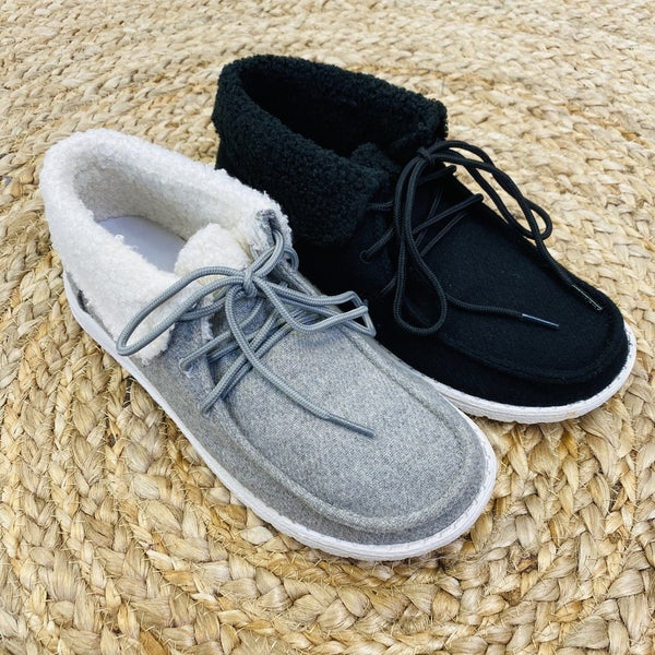 Very G Sherpa Lined Slip On Ankle Sneakers- 2 Colors!