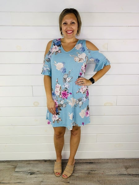 Plus/Reg HoneyMe Aqua Floral Print Cold Shoulder Dress