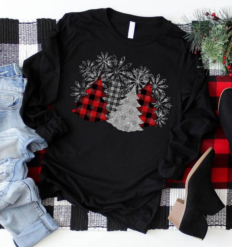 PREORDER Pre Black Friday Deal Plus/Reg Plaid Christmas Tree Long Sleeve Tee
