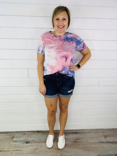PLUS/REG Judy Blue Chasing Sunsets Cuffed Dark Wash Shorts