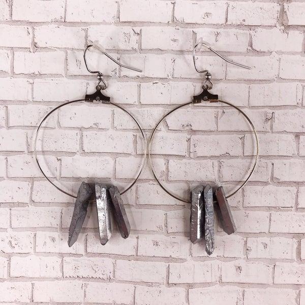 Custom MOCO Gunmetal Crystal Stone Earrings