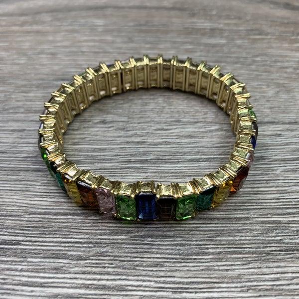 Multi Color Stone Stretch Bracelet