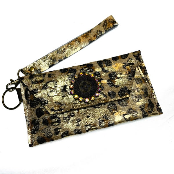 Authentic Upcycled LV Gold Cheetah Wristlet
