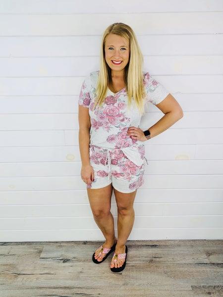PLUS/REG Honeyme Grey & Floral lounge shorts