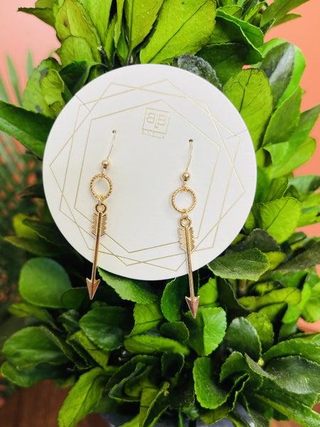 Arrow Through Me Earrings- Gold