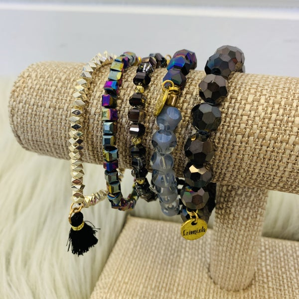 Erimish Black And Gold Stack Bracelet
