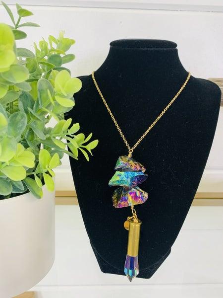 Custom MOCO Stone Crystal Drop Necklace