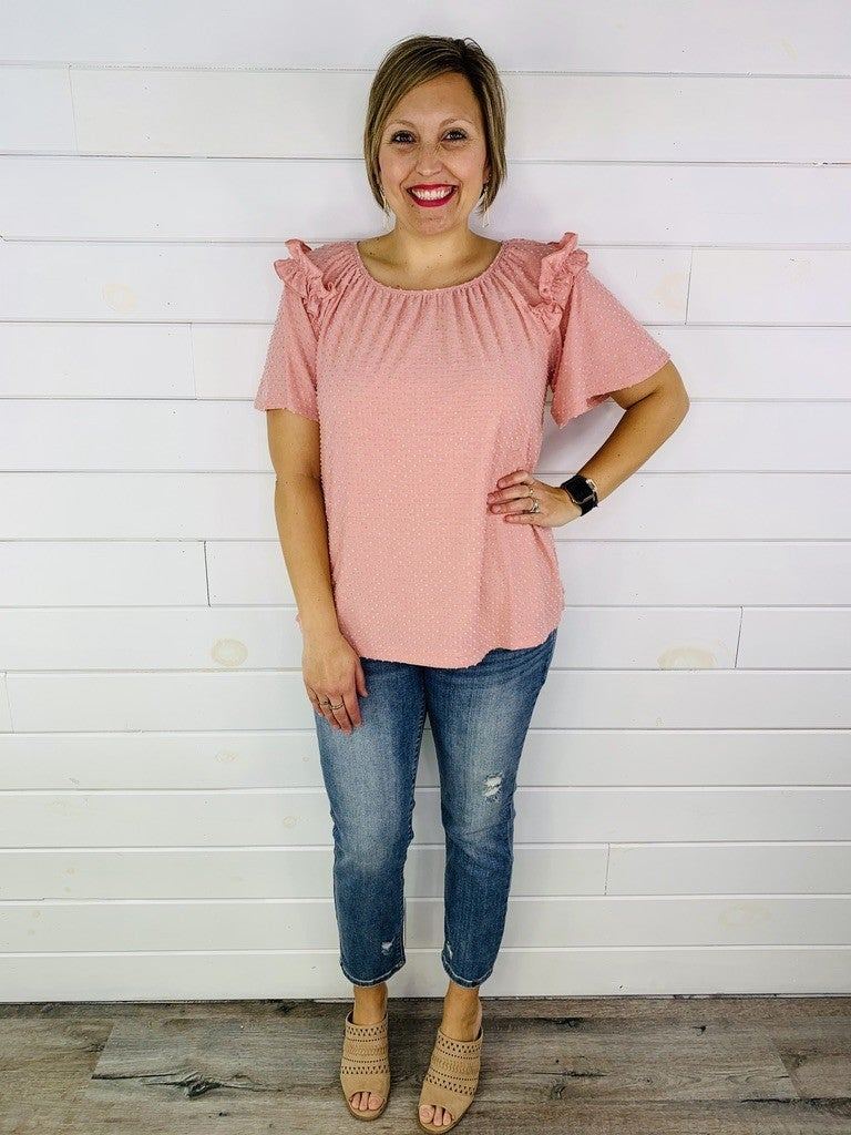 PLUS/REG Swiss Dot Flowy Top with Ruffle Sleeves -- 3 Colors!