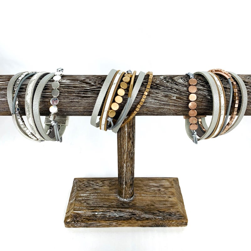Mixed Materials Magnetic bracelet - 3 colors!
