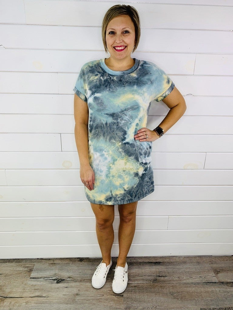 PLUS/REG HoneyMe French Terry Teal Tie Dye Dress with Pockets