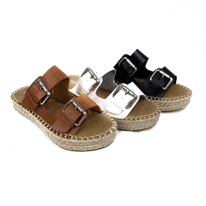 Double Buckle Platform Sandals- 3 Colors!