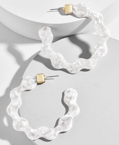 Ivory Acrylic Wave Hoop Earrings