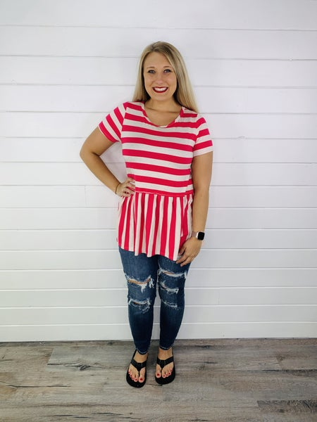 PLUS/REG HoneyMe Magenta Striped Peplum Top