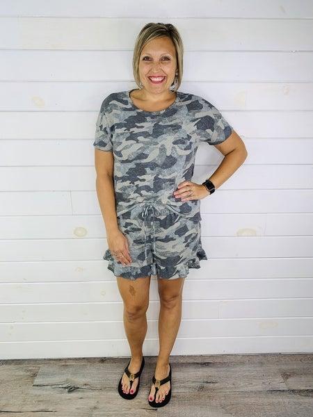 PLUS/REG HoneyMe Grey Camo Lounge Shorts with Ruffle Hem