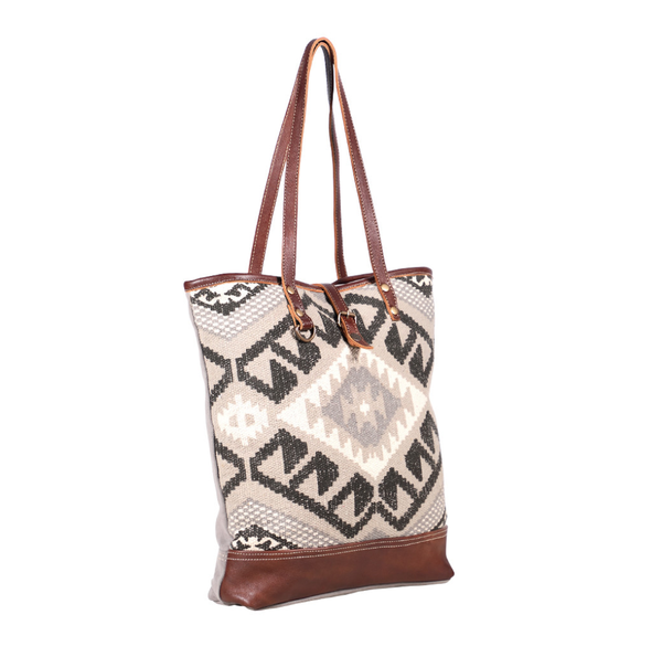 Myra Bag- Tribal Print Black and Grey Tote