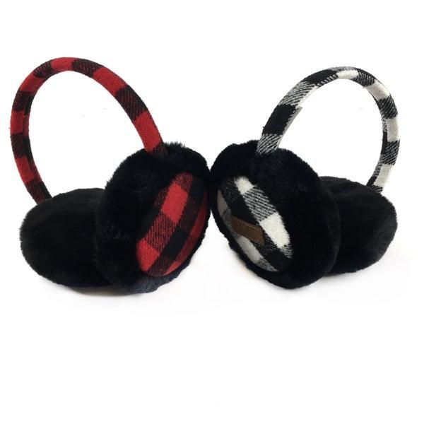 CC Beanie Buffalo Plaid Adjustable Band Earmuffs