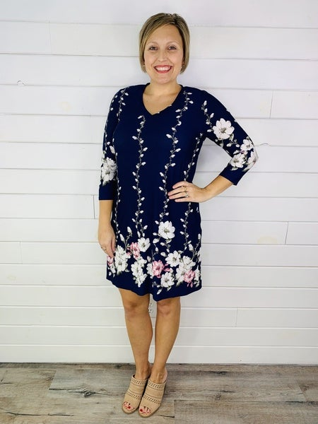 PLUS/REG Honeyme Floral Border Print Dress-- TWO Colors!