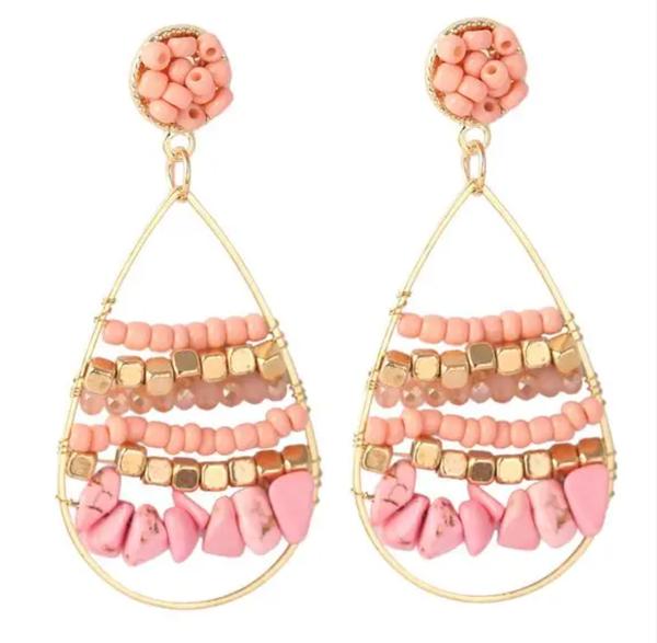 Pink Beaded Gold Hoop Earrings