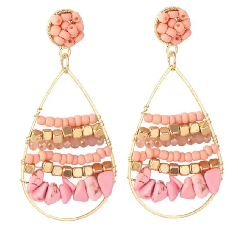 Pink Beaded Gold Hoop Earrings