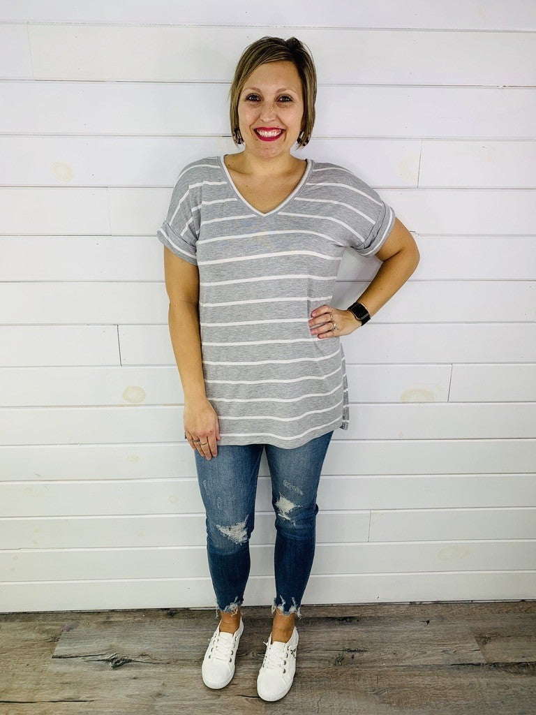 PLUS/REG DOORBUSTER Striped Tee with Cuffed Sleeves -- 5 Colors!