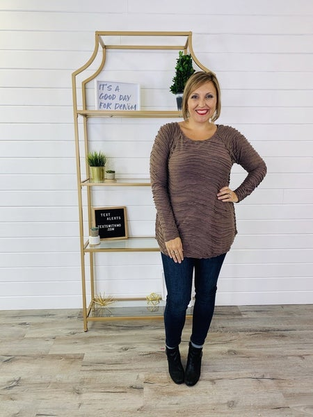 Wavy Textured 3/4 Sleeve Top with Crochet Back