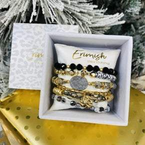 Erimish Dark Elegance Stack Bracelet With Box