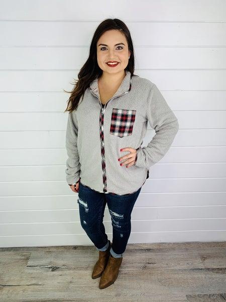 Grey Zip-Up Fleece with Plaid Pocket
