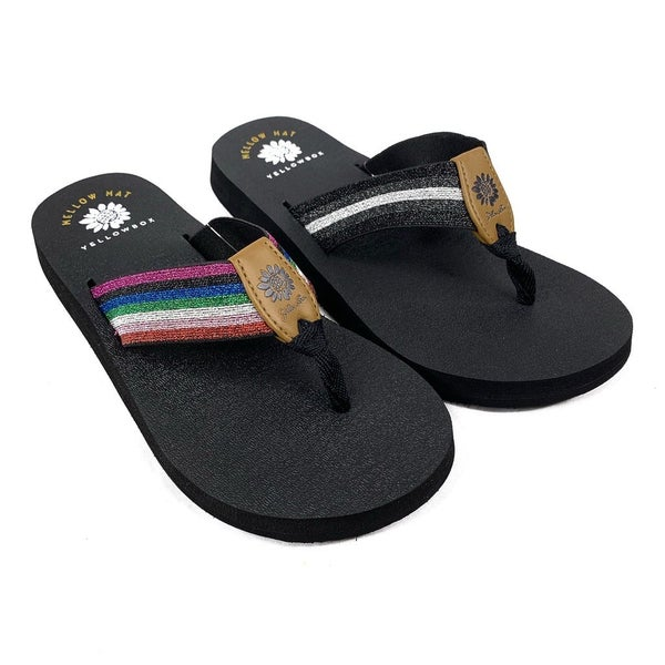 Yellowbox Mellow Mat Sparkly Stripe Flip Flops - 2 Colors!