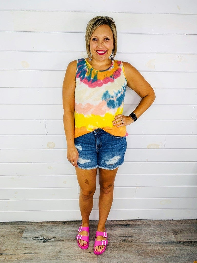RESTOCK!! PLUS/REG Judy Blue Stay Casual Cut Off Shorts