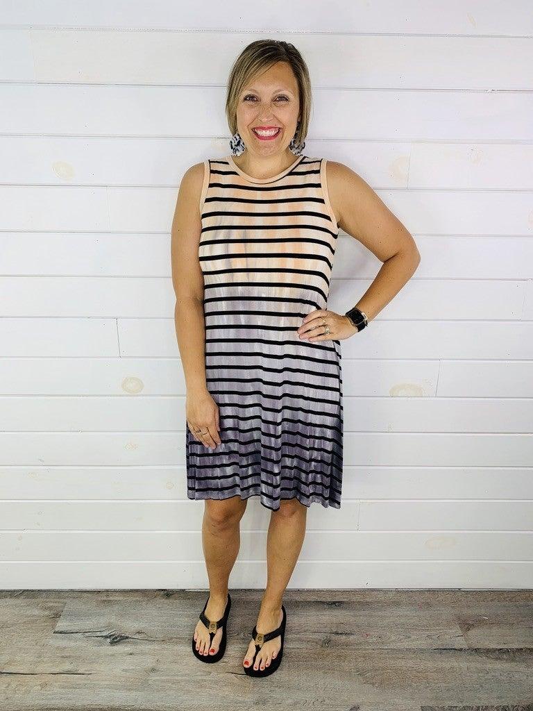 Peach and Grey Tie Dye Midi Dress with Black Stripes