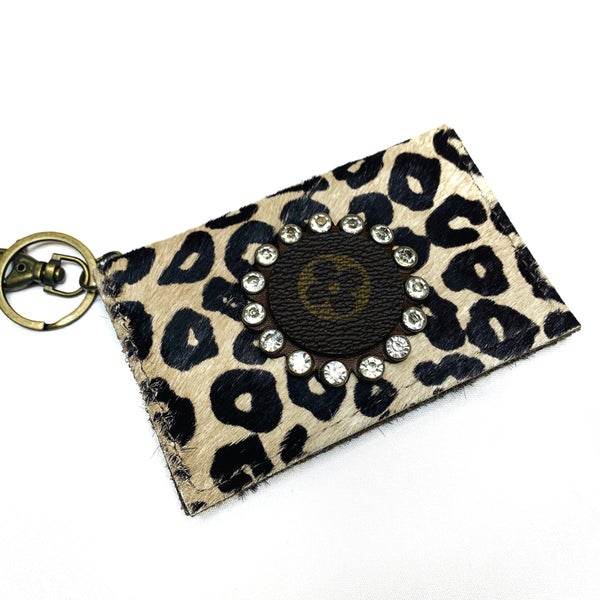 Authentic Upcycled LV Light Cheetah Credit Card Case With Clear Crystals