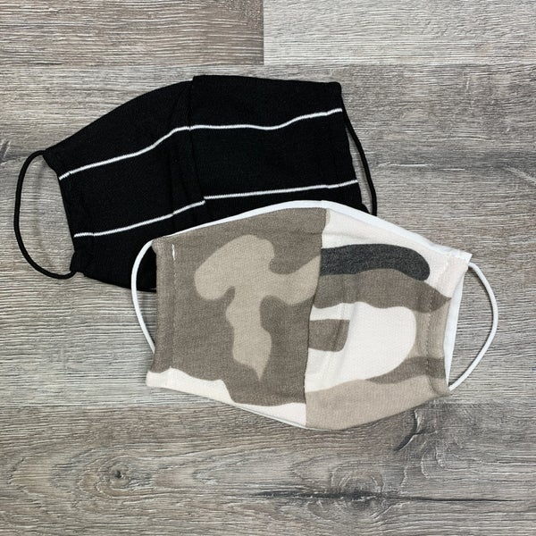 2 Pack! Camo and Black Stripe Face Safety for Adult and Kids
