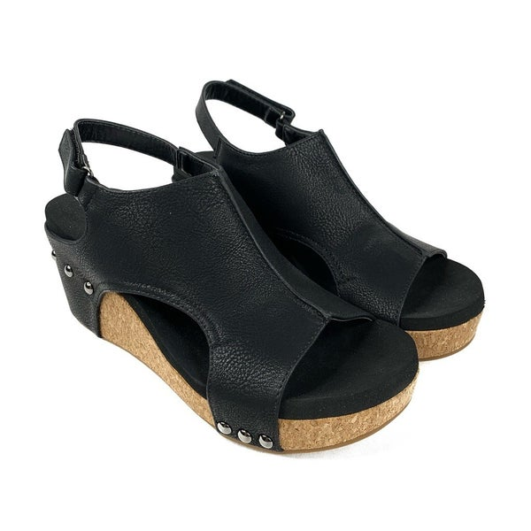 Corky's Black Leather Wedge with Studded Heel