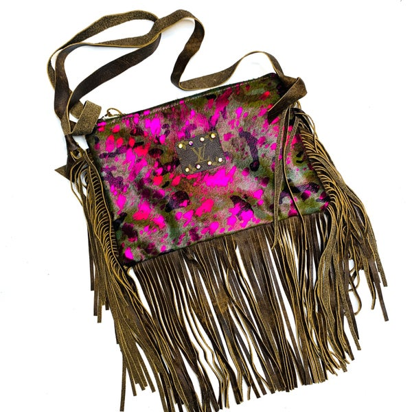Authentic Upcycled LV Pink and Brown Cow Crossbody With Fringe