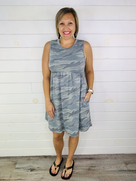 Grey Camo Babydoll Dress