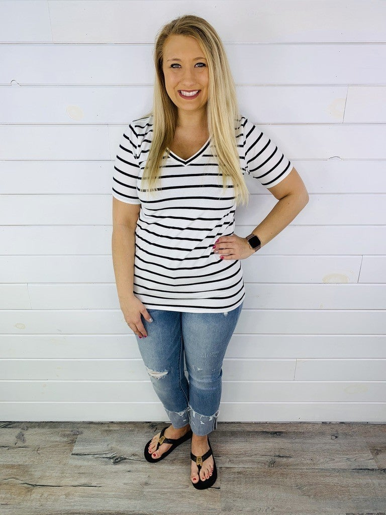 DOORBUSTER Striped Cotton V Neck Tee - 5 Colors!