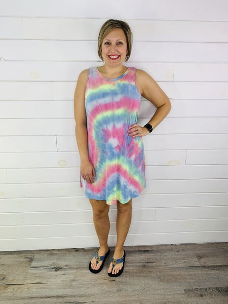 PLUS/REG HoneyMe Tie Dye Sleeveless Dress with Pockets
