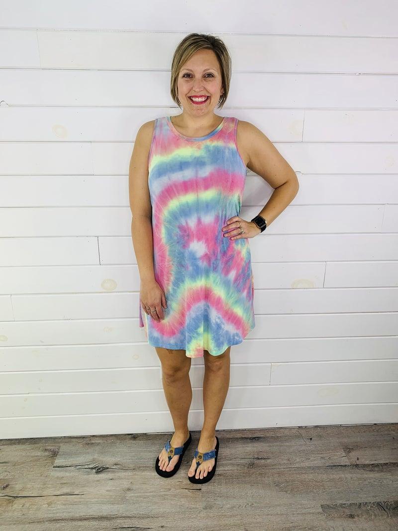 PLUS/REG HoneyMe Tie Dye Sleeveless Dress with Pockets