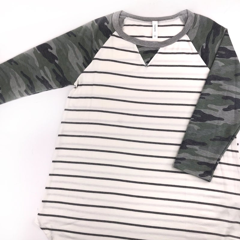 Plus/Reg Striped Top with Camo Sleeves