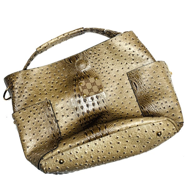 Authentic Upcycled Gucci Large Tan Crocodile Leather Handbag