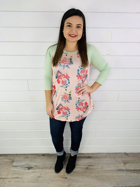 DOORBUSTER Pink Floral Baseball Tee with Mint Sleeves