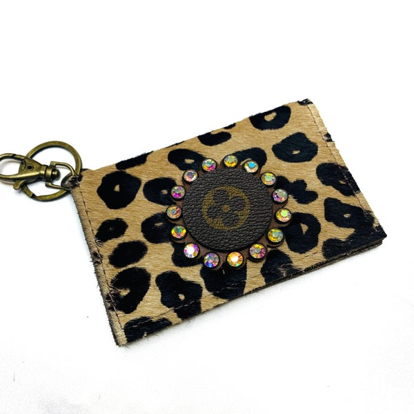 Authentic Upcycled LV Cheetah Credit Card Case With Iridescent Rhinestones