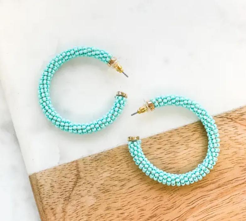 Beaded Hoop Earrings - 5 Colors!